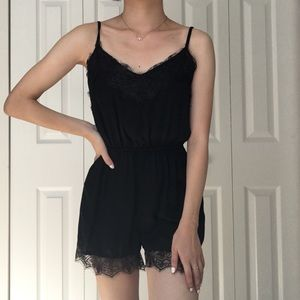 NWOT Topshop black silky lace cami romper 0